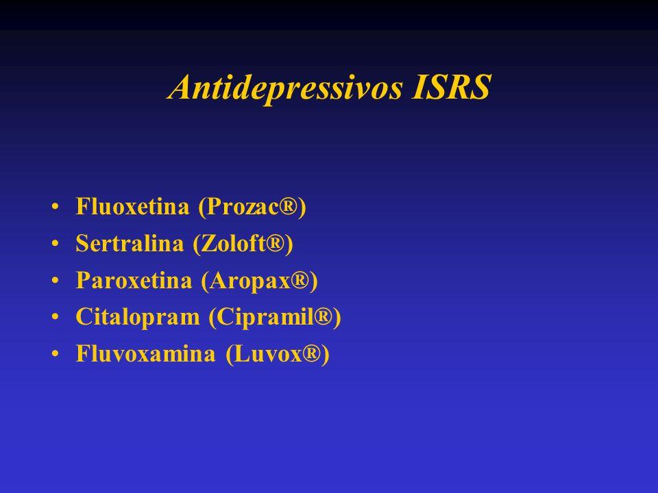 Antidepressivos ISRS Fluoxetina (Prozac®) Sertralina (Zoloft®)