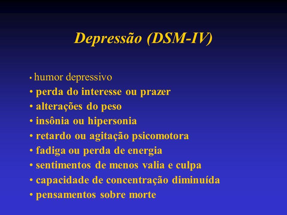 Depressão (DSM-IV) perda do interesse ou prazer alterações do peso