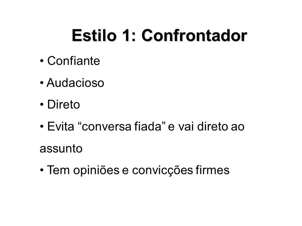 Estilo 1: Confrontador • Confiante • Audacioso • Direto