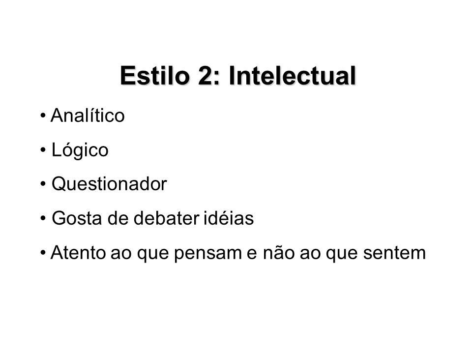 Estilo 2: Intelectual • Analítico • Lógico • Questionador