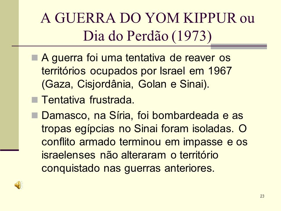 A GUERRA DO YOM KIPPUR ou Dia do Perdão (1973)