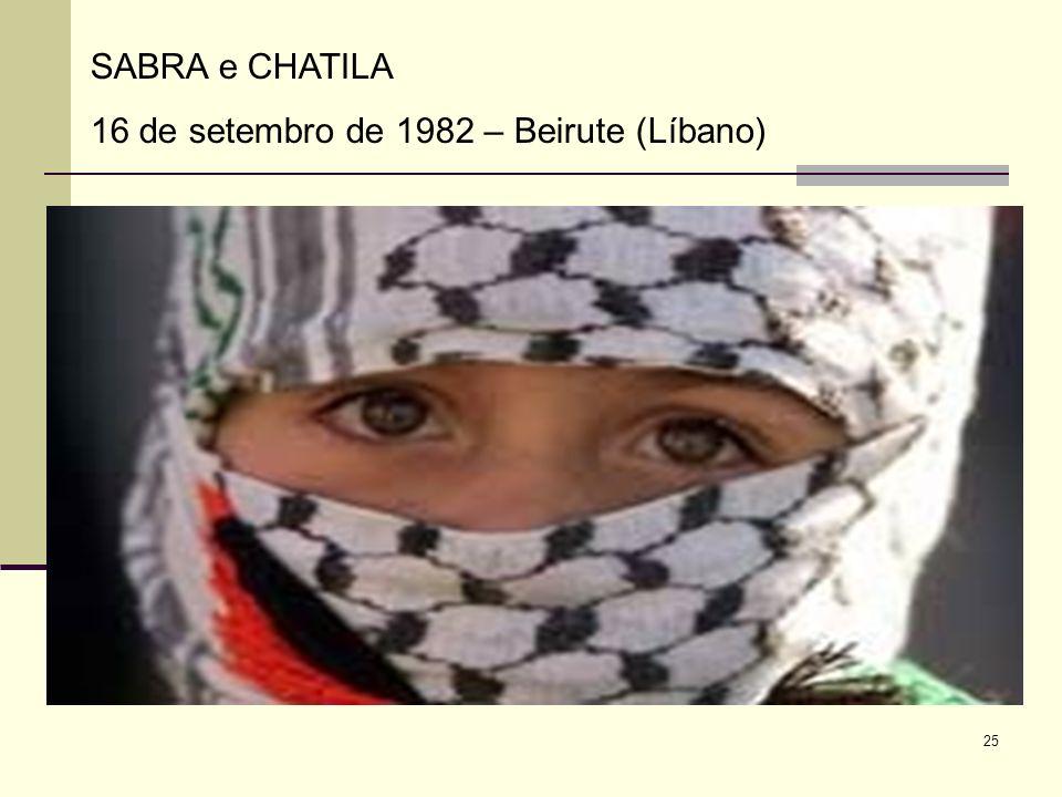 SABRA e CHATILA 16 de setembro de 1982 – Beirute (Líbano)