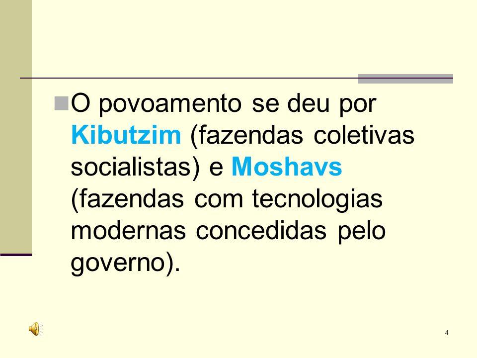 O povoamento se deu por Kibutzim (fazendas coletivas socialistas) e Moshavs (fazendas com tecnologias modernas concedidas pelo governo).