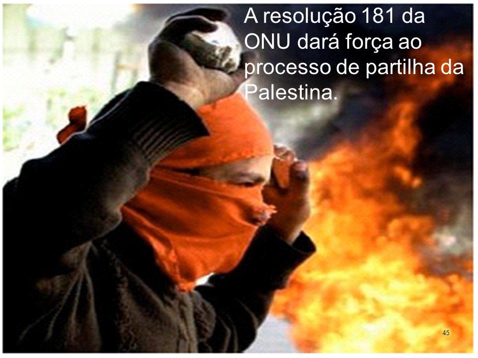A resolução 181 da ONU dará força ao processo de partilha da Palestina.