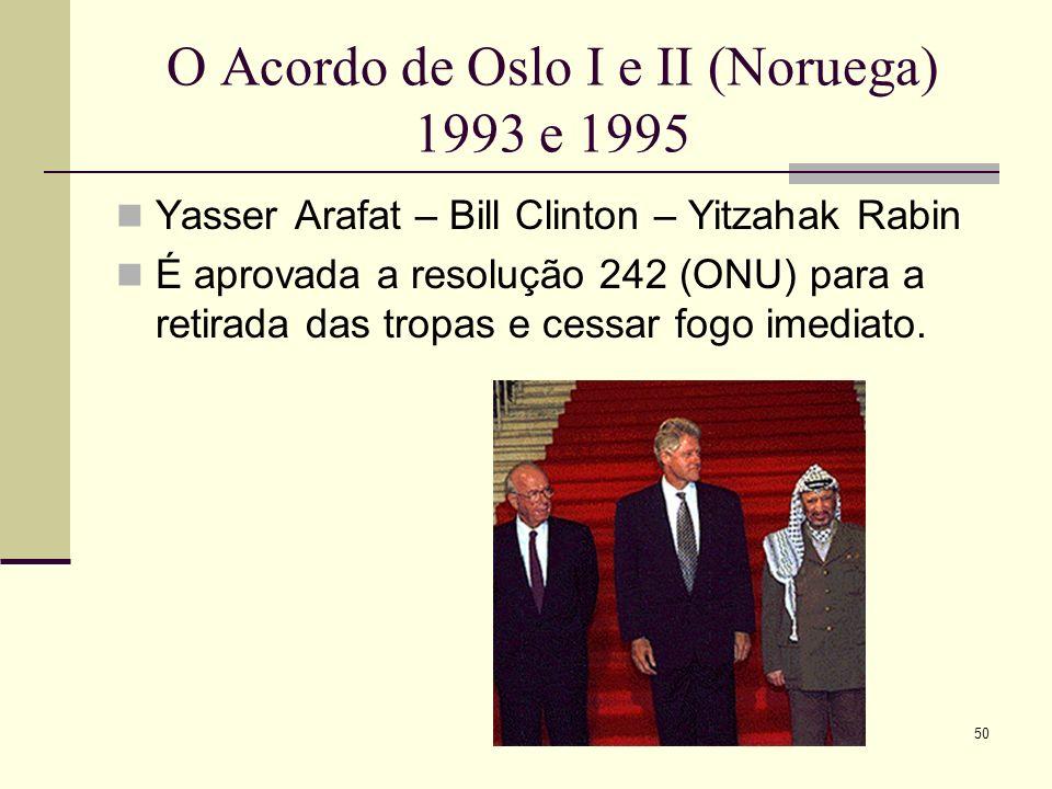 O Acordo de Oslo I e II (Noruega) 1993 e 1995