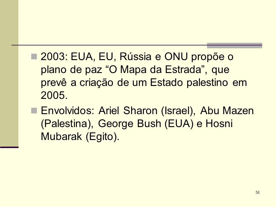 2003: EUA, EU, Rússia e ONU propõe o plano de paz O Mapa da Estrada , que prevê a criação de um Estado palestino em 2005.