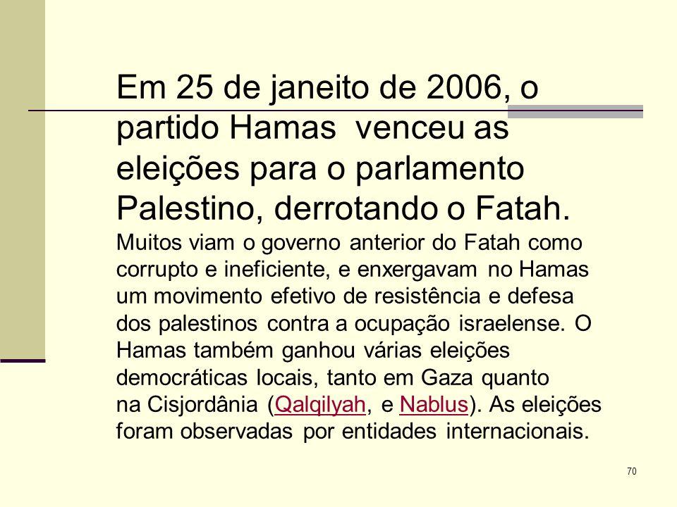 Em 25 de janeito de 2006, o partido Hamas venceu as eleições para o parlamento Palestino, derrotando o Fatah.