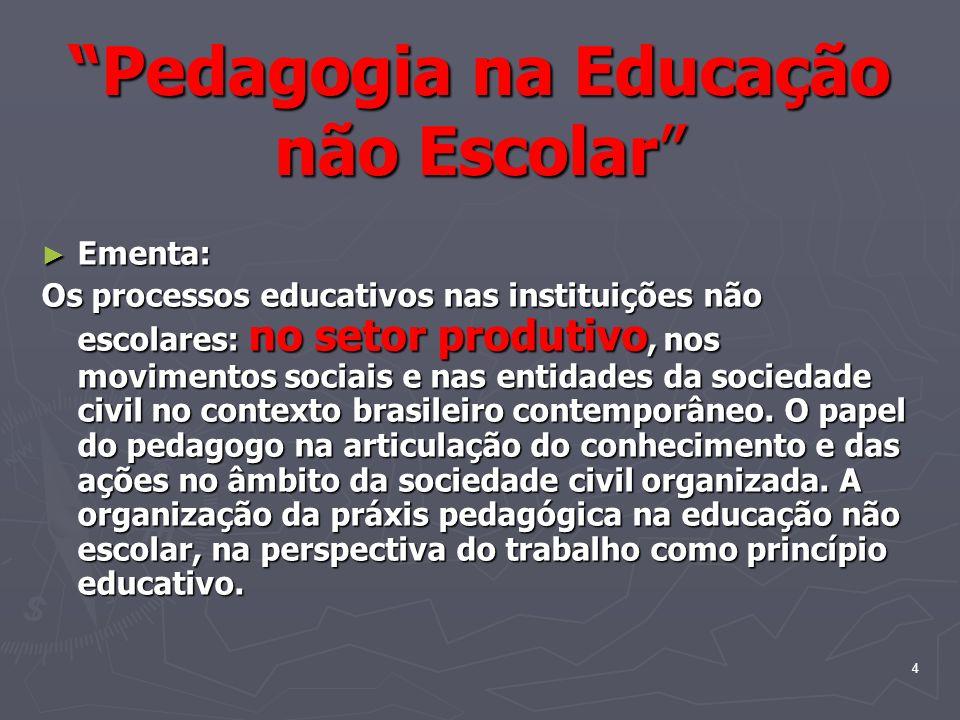 Pedagogia na Educação não Escolar