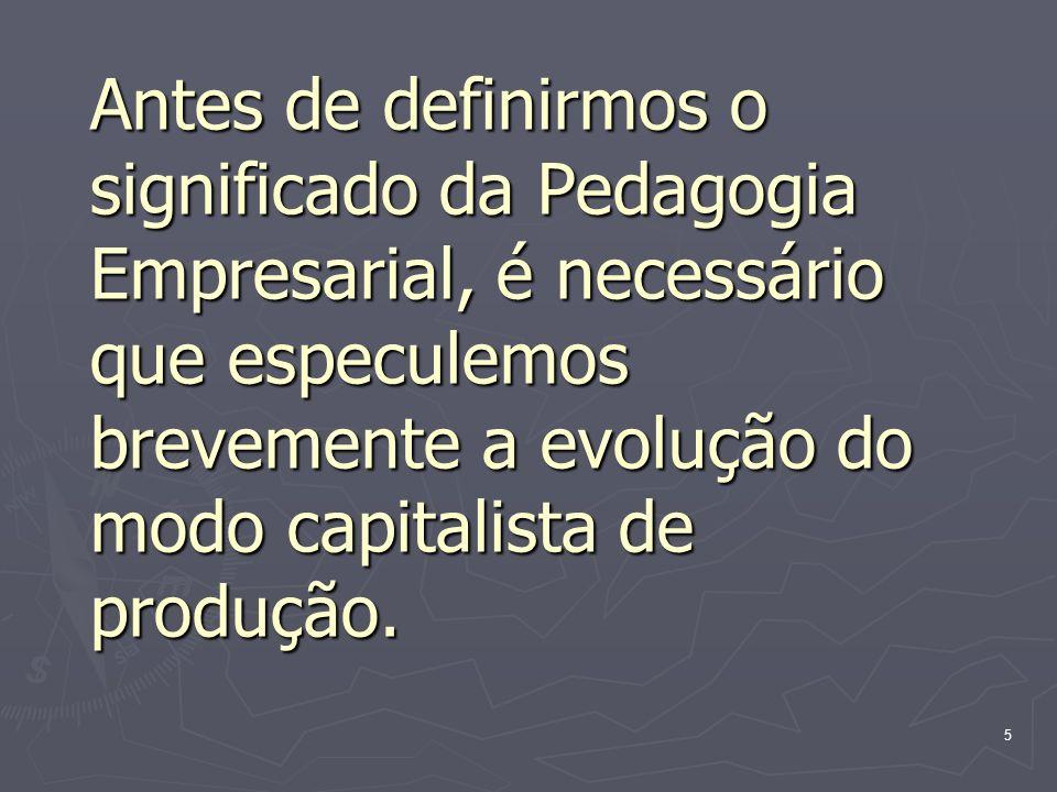 Antes de definirmos o significado da Pedagogia Empresarial, é necessário que especulemos brevemente a evolução do modo capitalista de produção.