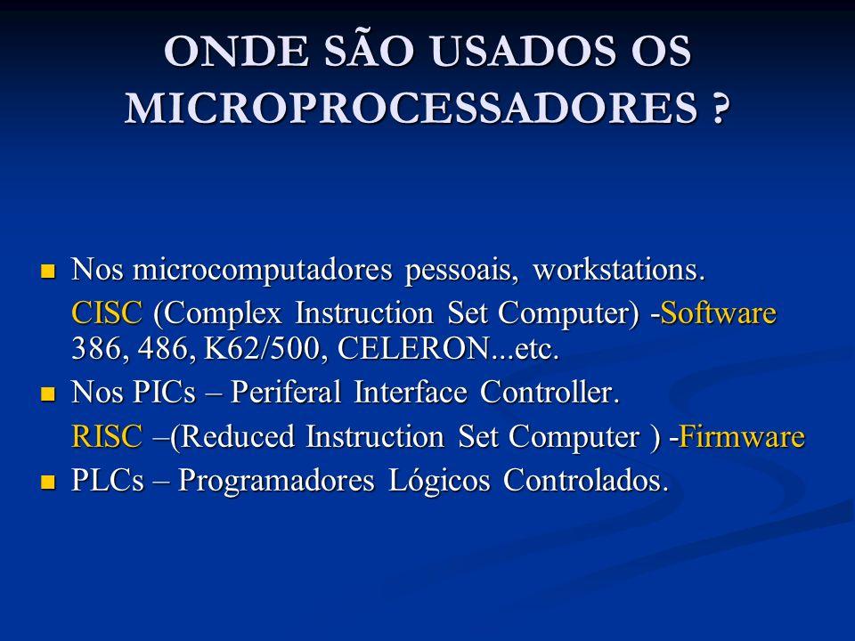 ONDE SÃO USADOS OS MICROPROCESSADORES
