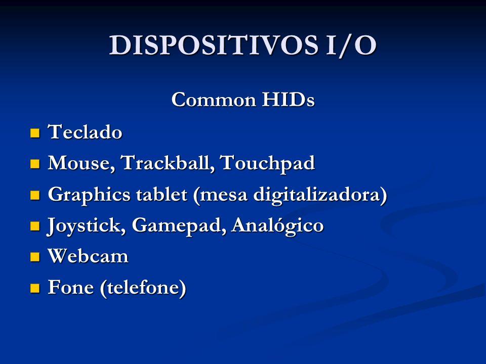 DISPOSITIVOS I/O Common HIDs Teclado Mouse, Trackball, Touchpad