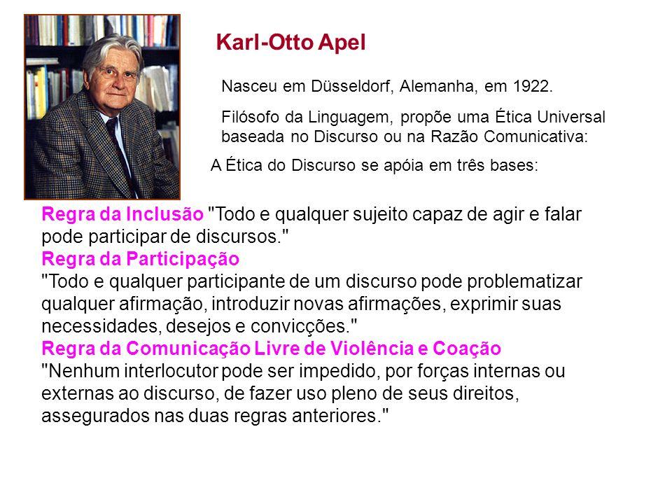 Karl-Otto ApelNasceu em Düsseldorf, Alemanha, em 1922.