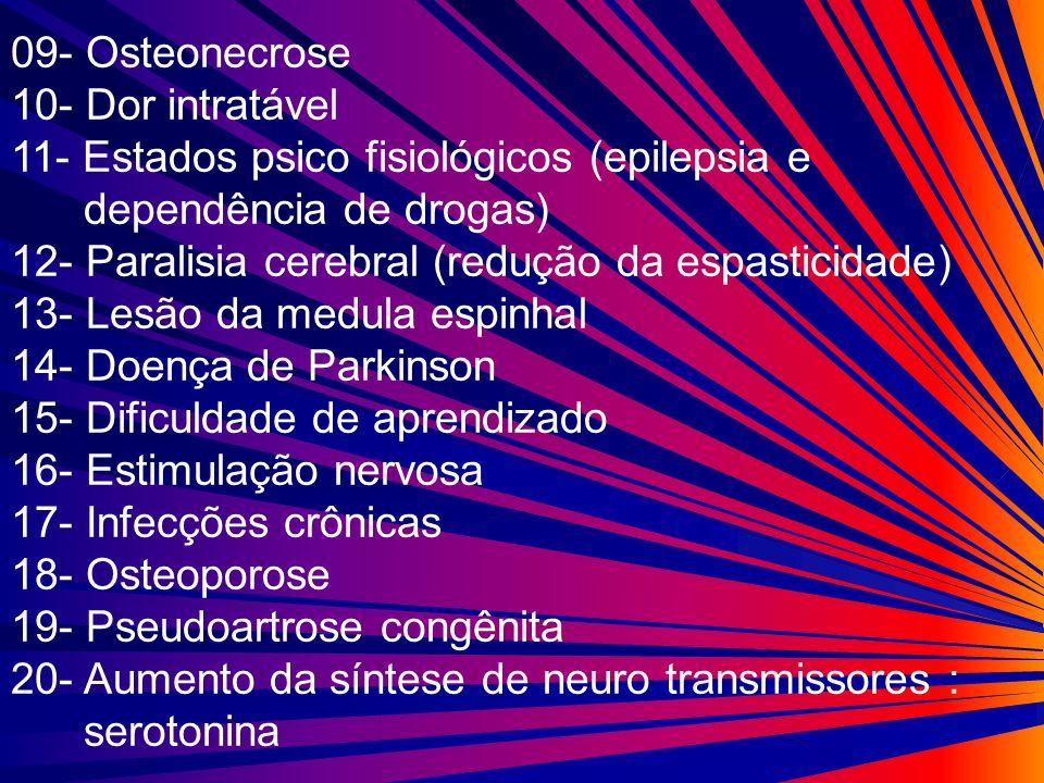 09- Osteonecrose 10- Dor intratável 11- Estados psico fisiológicos (epilepsia e