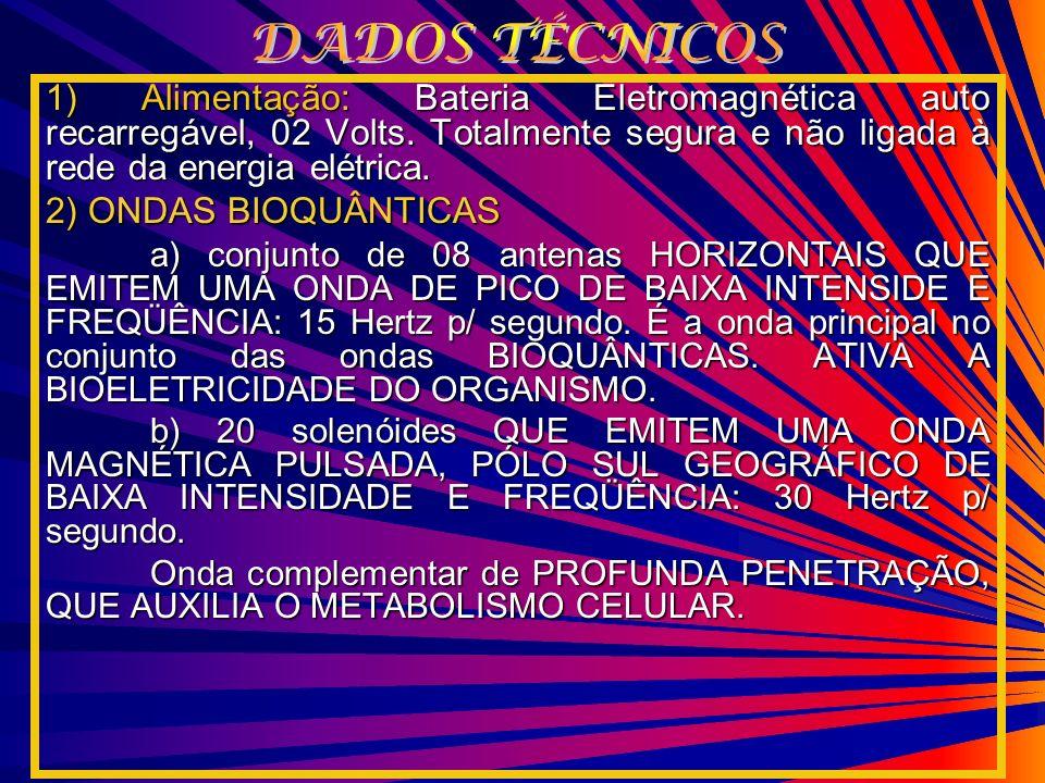 DADOS TÉCNICOS 1) Alimentação: Bateria Eletromagnética auto recarregável, 02 Volts. Totalmente segura e não ligada à rede da energia elétrica.