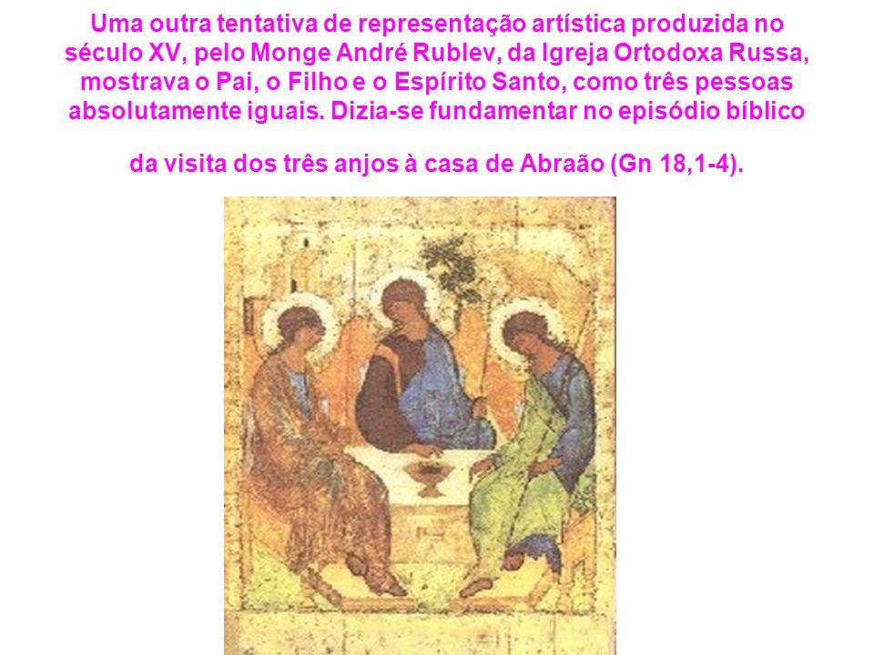 Uma outra tentativa de representação artística produzida no século XV, pelo Monge André Rublev, da Igreja Ortodoxa Russa, mostrava o Pai, o Filho e o Espírito Santo, como três pessoas absolutamente iguais. Dizia-se fundamentar no episódio bíblico da visita dos três anjos à casa de Abraão (Gn 18,1-4).