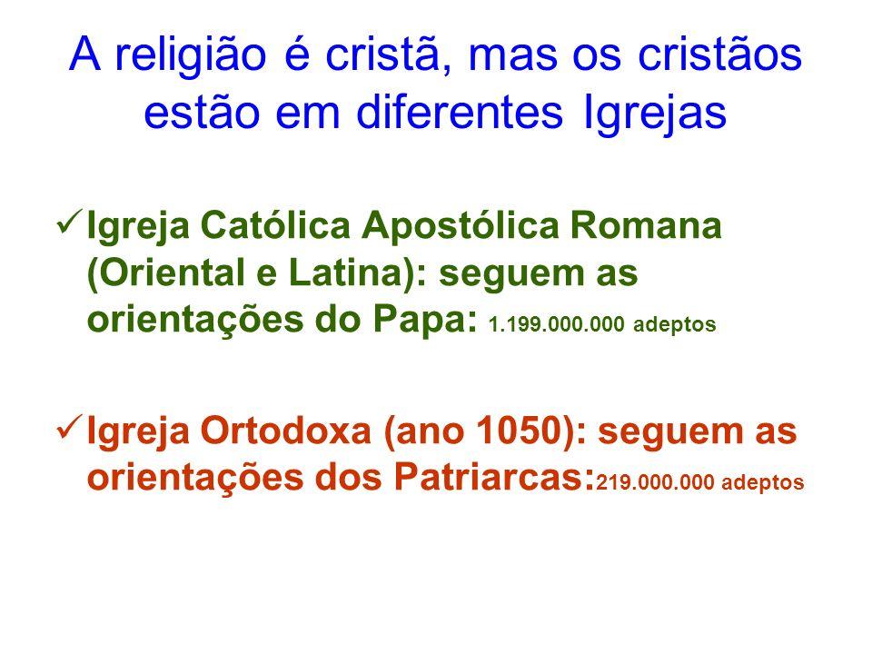 A religião é cristã, mas os cristãos estão em diferentes Igrejas