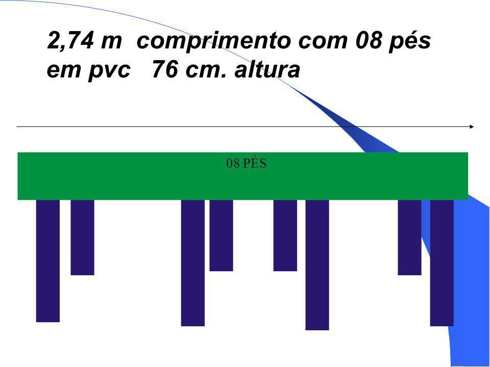 2,74 m comprimento com 08 pés em pvc 76 cm. altura
