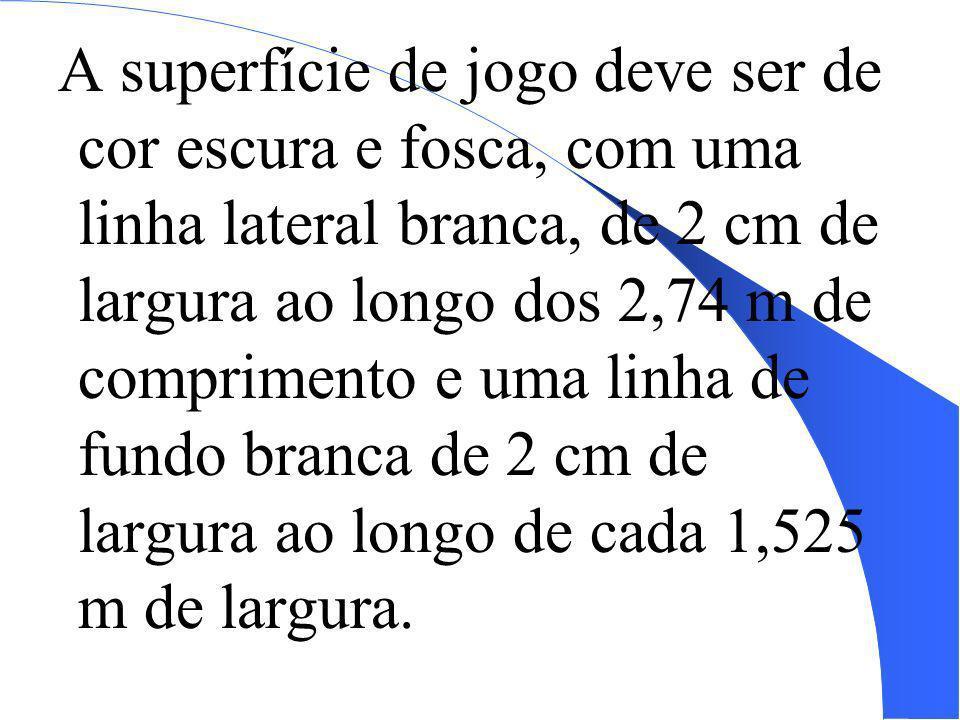 A superfície de jogo deve ser de cor escura e fosca, com uma linha lateral branca, de 2 cm de largura ao longo dos 2,74 m de comprimento e uma linha de fundo branca de 2 cm de largura ao longo de cada 1,525 m de largura.