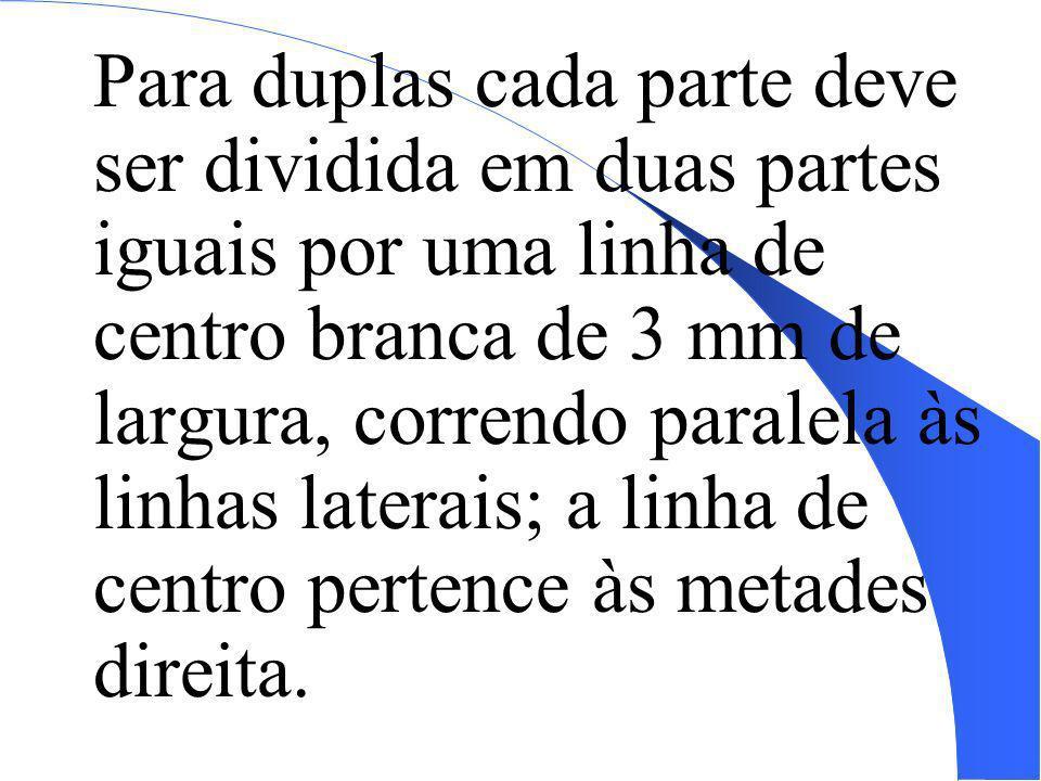 Para duplas cada parte deve ser dividida em duas partes iguais por uma linha de centro branca de 3 mm de largura, correndo paralela às linhas laterais; a linha de centro pertence às metades direita.