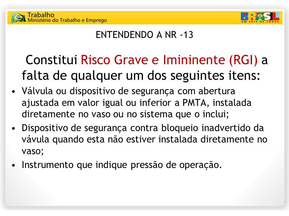 ENTENDENDO A NR -13 Constitui Risco Grave e Imininente (RGI) a falta de qualquer um dos seguintes itens:
