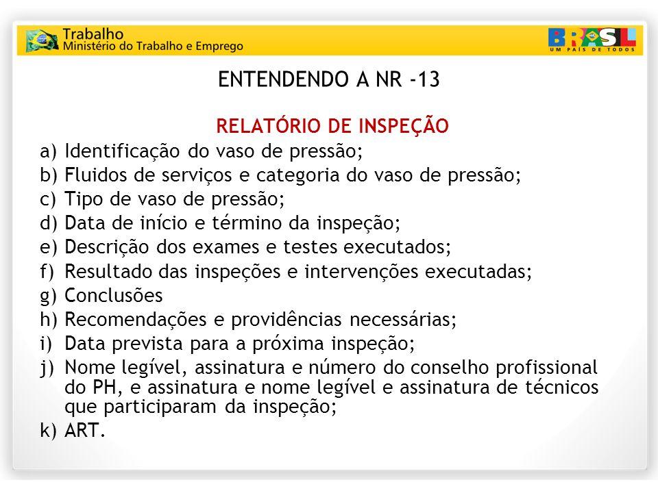 ENTENDENDO A NR -13 RELATÓRIO DE INSPEÇÃO