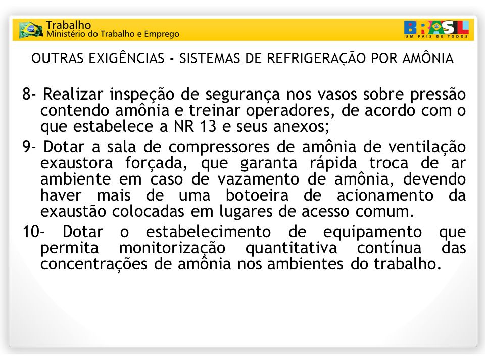 OUTRAS EXIGÊNCIAS - SISTEMAS DE REFRIGERAÇÃO POR AMÔNIA