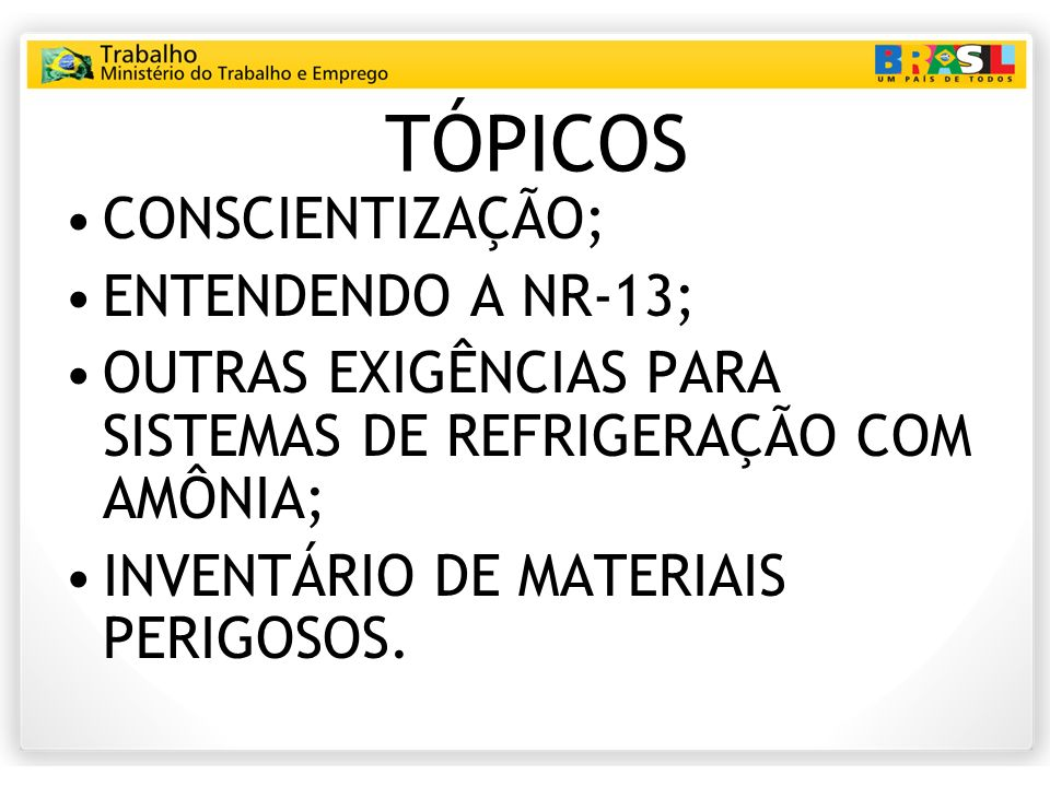 TÓPICOS CONSCIENTIZAÇÃO; ENTENDENDO A NR-13;