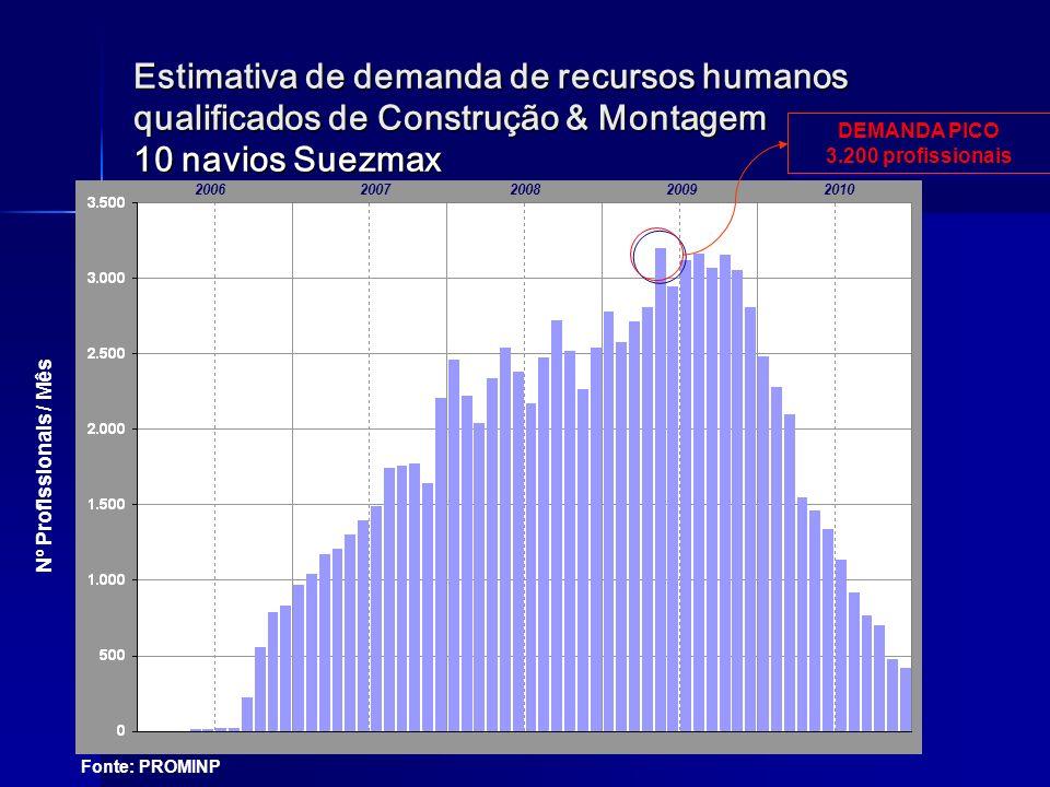 Estimativa de demanda de recursos humanos qualificados de Construção & Montagem 10 navios Suezmax