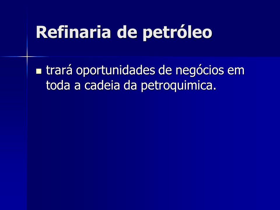 Refinaria de petróleo trará oportunidades de negócios em toda a cadeia da petroquimica.
