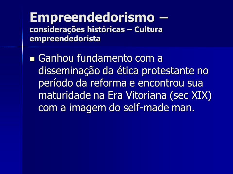 Empreendedorismo – considerações históricas – Cultura empreendedorista