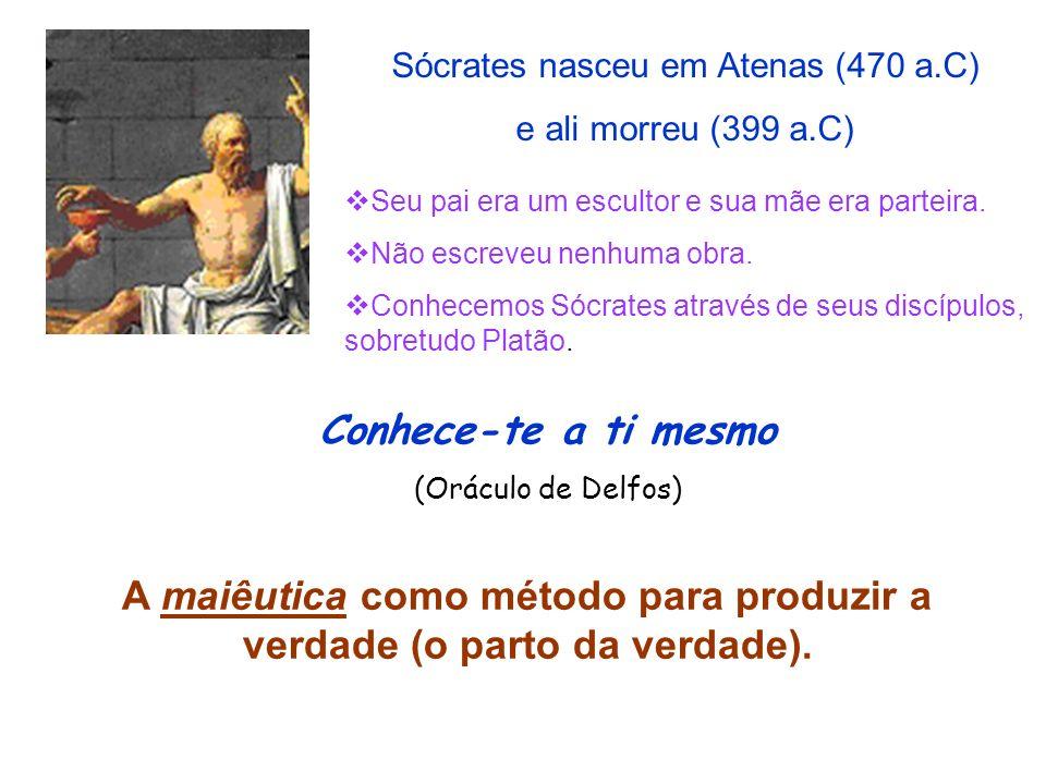 A maiêutica como método para produzir a verdade (o parto da verdade).