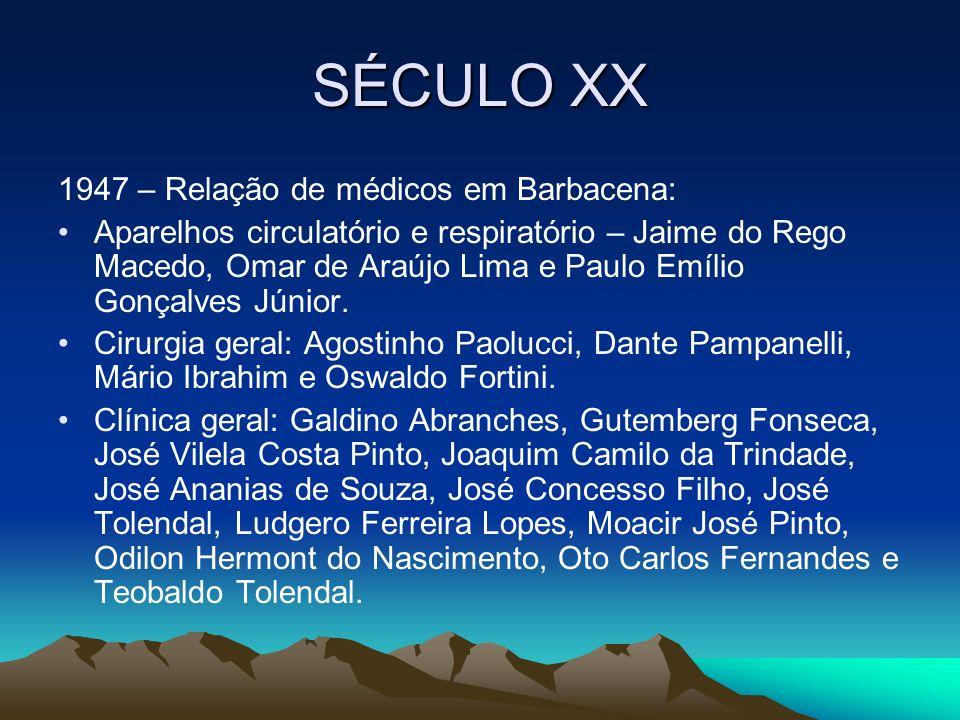 SÉCULO XX 1947 – Relação de médicos em Barbacena: