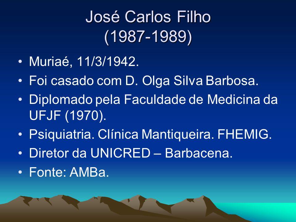 José Carlos Filho (1987-1989) Muriaé, 11/3/1942.