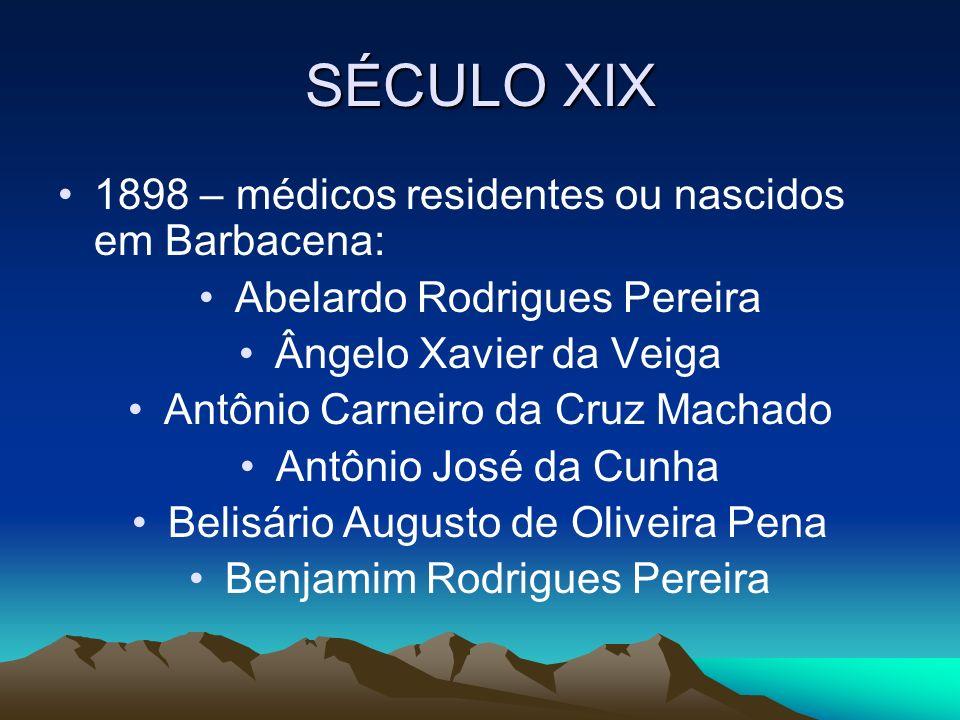 SÉCULO XIX 1898 – médicos residentes ou nascidos em Barbacena: