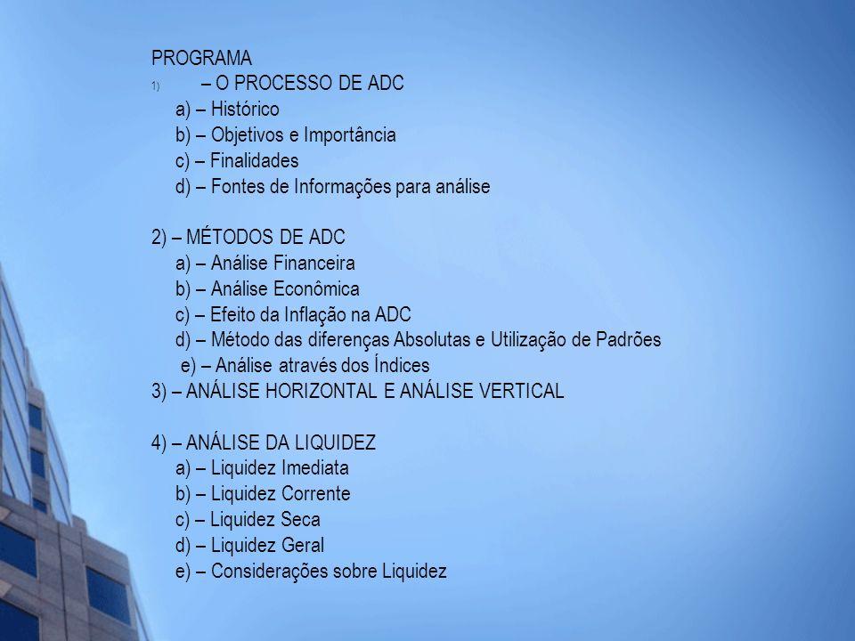 PROGRAMA – O PROCESSO DE ADC. a) – Histórico. b) – Objetivos e Importância. c) – Finalidades. d) – Fontes de Informações para análise.