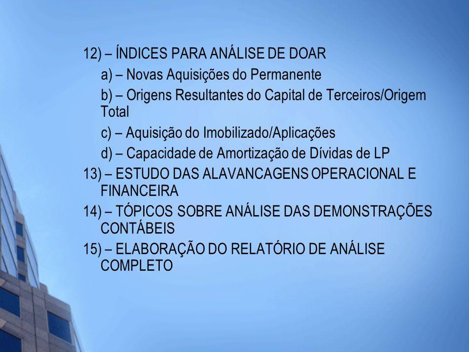 12) – ÍNDICES PARA ANÁLISE DE DOAR