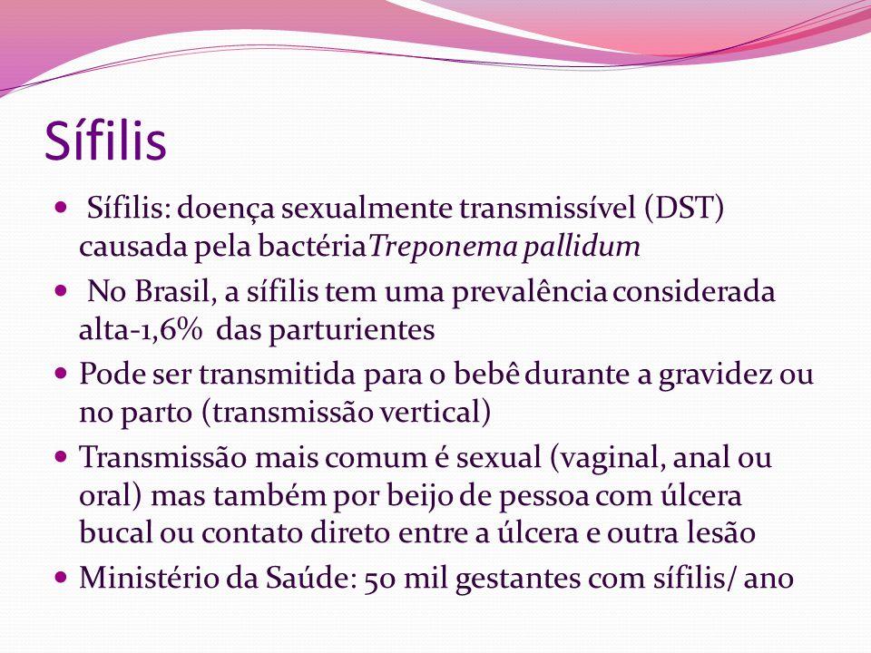 Sífilis Sífilis: doença sexualmente transmissível (DST) causada pela bactériaTreponema pallidum.