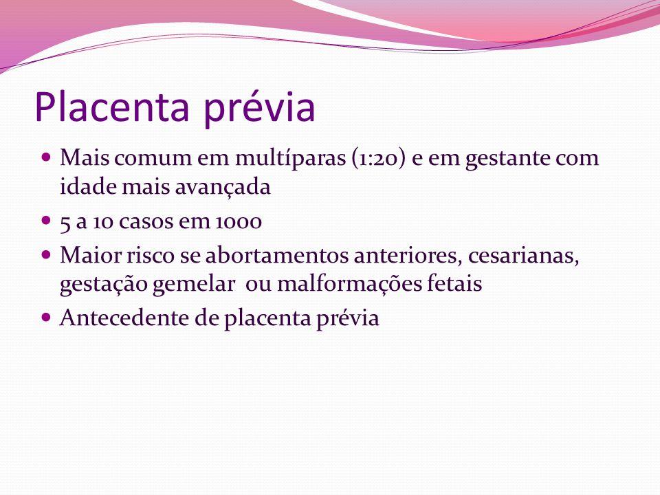 Placenta prévia Mais comum em multíparas (1:20) e em gestante com idade mais avançada. 5 a 10 casos em 1000.