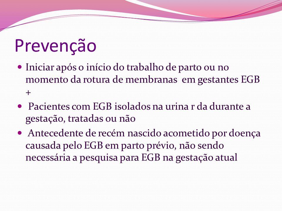 Prevenção Iniciar após o início do trabalho de parto ou no momento da rotura de membranas em gestantes EGB +
