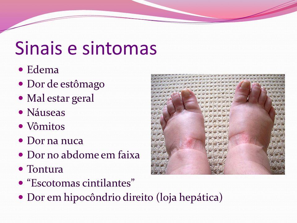 Sinais e sintomas Edema Dor de estômago Mal estar geral Náuseas