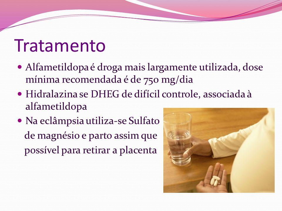 Tratamento Alfametildopa é droga mais largamente utilizada, dose mínima recomendada é de 750 mg/dia.