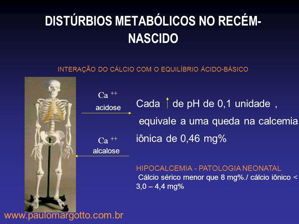 DISTÚRBIOS METABÓLICOS NO RECÉM-NASCIDO INTERAÇÃO DO CÁLCIO COM O EQUILÍBRIO ÁCIDO-BÁSICO