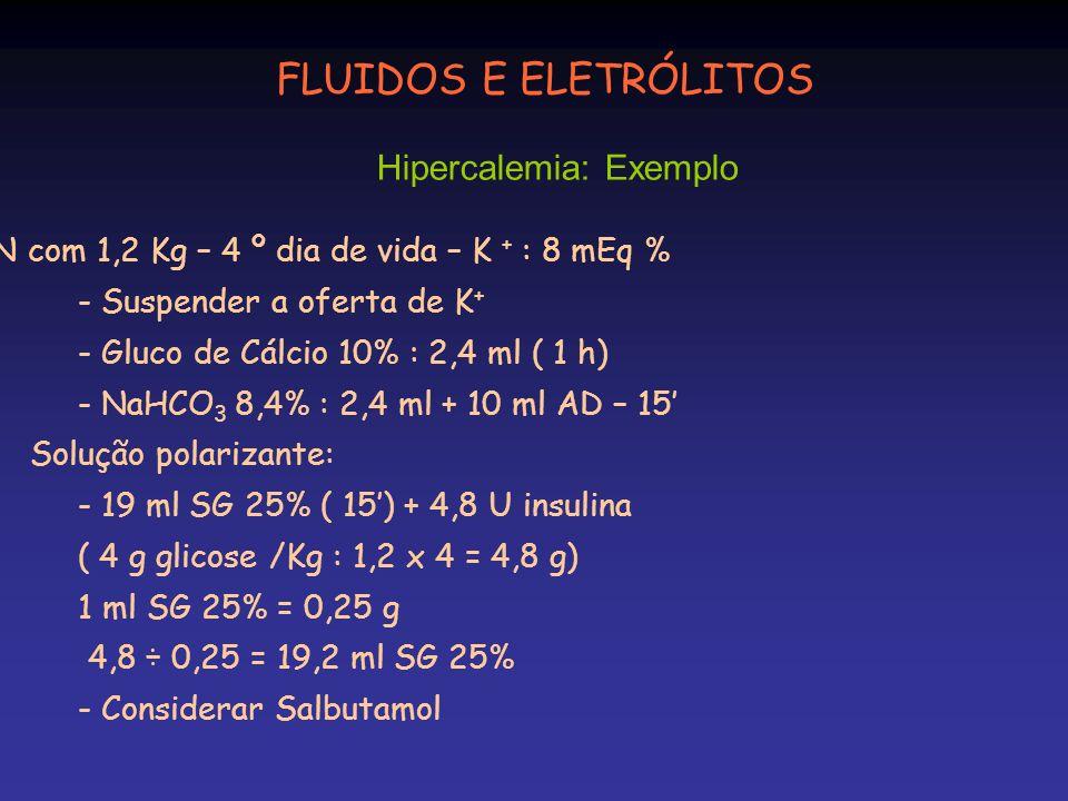FLUIDOS E ELETRÓLITOS Hipercalemia: Exemplo