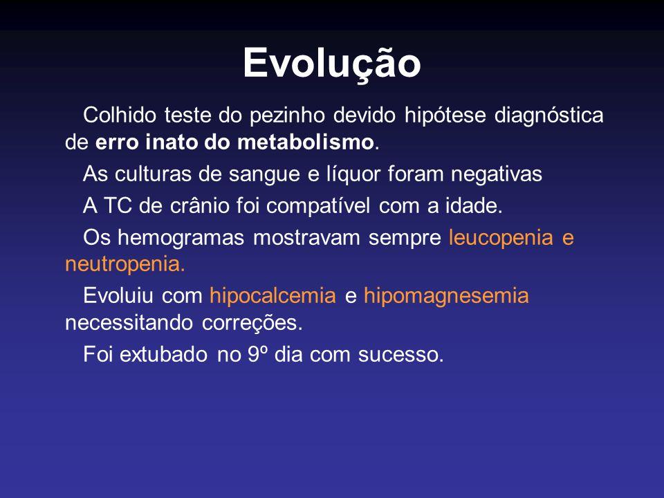 Evolução Colhido teste do pezinho devido hipótese diagnóstica de erro inato do metabolismo. As culturas de sangue e líquor foram negativas.