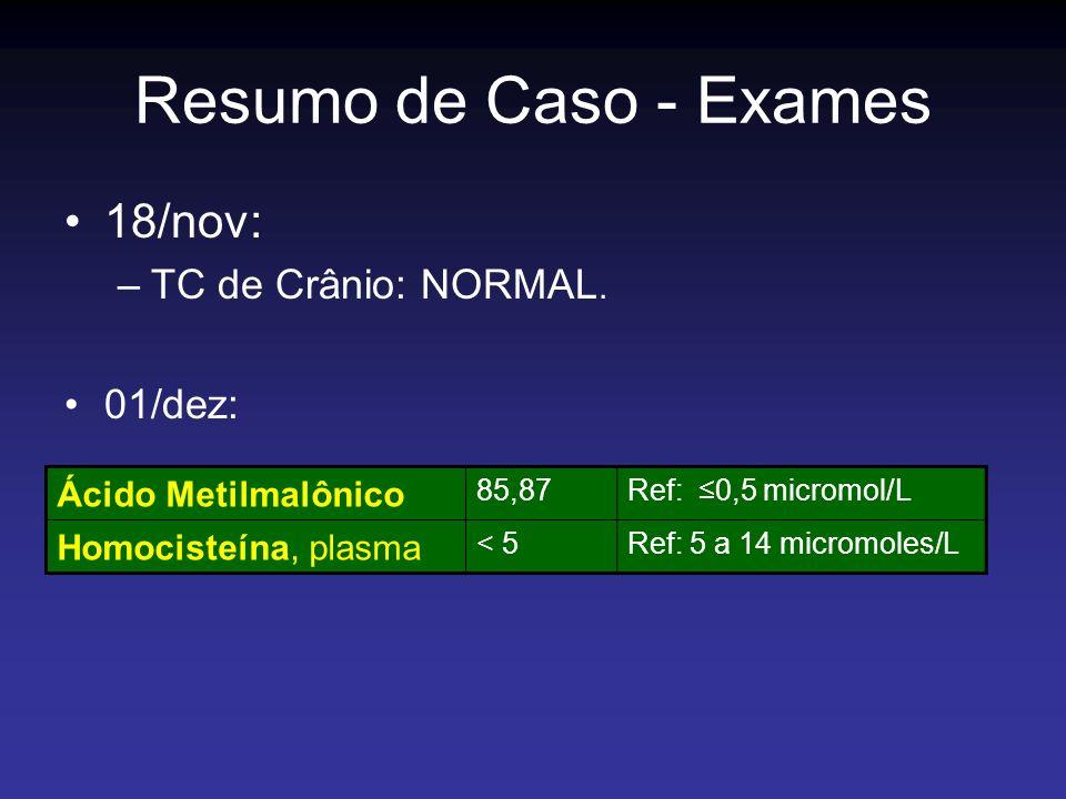 Resumo de Caso - Exames 18/nov: TC de Crânio: NORMAL. 01/dez: