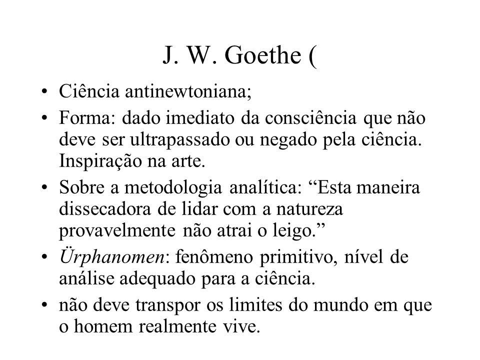 J. W. Goethe ( Ciência antinewtoniana;