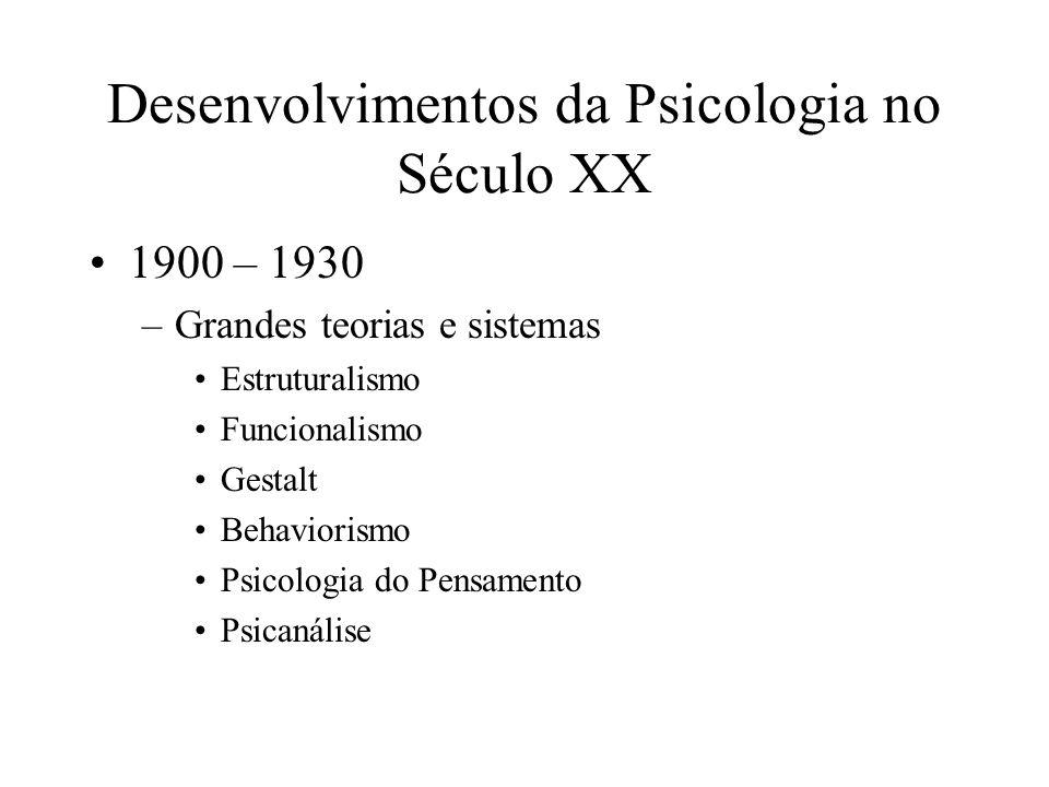 Desenvolvimentos da Psicologia no Século XX