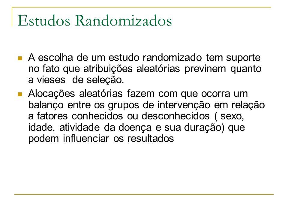 Estudos Randomizados A escolha de um estudo randomizado tem suporte no fato que atribuições aleatórias previnem quanto a vieses de seleção.