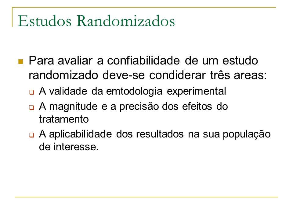Estudos Randomizados Para avaliar a confiabilidade de um estudo randomizado deve-se condiderar três areas: