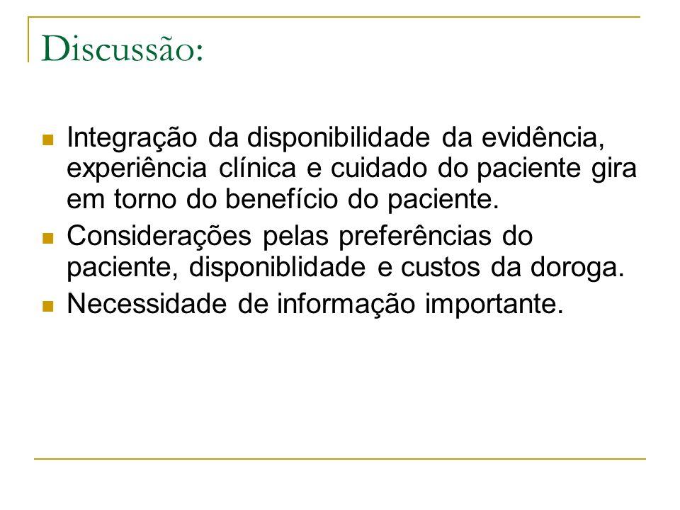 Discussão:Integração da disponibilidade da evidência, experiência clínica e cuidado do paciente gira em torno do benefício do paciente.
